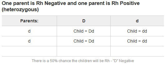 One parent is Rh Negative and one parent is Rh Positive